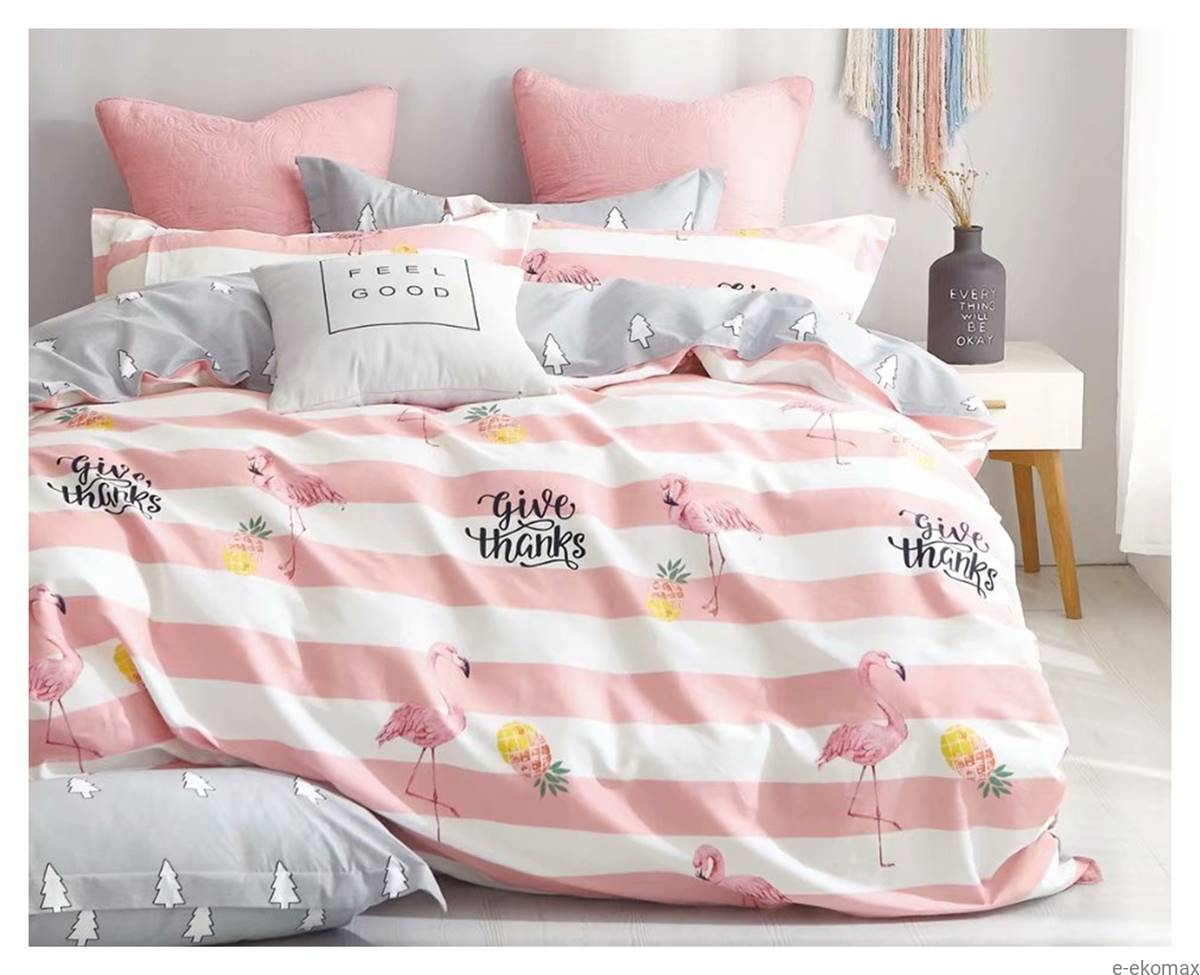 Komplet Pościeli Dwustronnej Różowo Białej 140x200 We Flamingi I